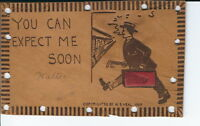 AU-043 - You Can Expect Me Soon, Man Suitcase Vintage Leather Postcard 1900's