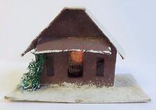Vintage Putz Japan Cardboard House Christmas Mica & Sea Sponge Tree