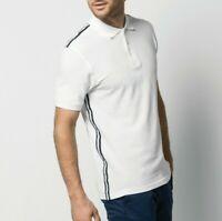 Mens slim fit sports casual squash badminton etc  polo shirt KK603 White Navy