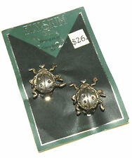 Vintage Sterling Silver Lady Bug Clip-On Earrings by Elysium (w/ Card)