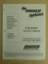 Manco The Machines Fun-Kart Assembly Operation Maintenance Operator Manual Cart