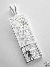 10mm Sterling Silver Hawaiian Vertical 3 Pose Hula Girl Dancer Flat Bar Pendant
