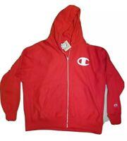 Size 2XL Champion Reverse Weave BIG C LOGO Zip Hoodie Sweatshirt Red Jacket NWT