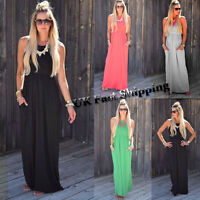 Women Sleeveless Summer Evening Party Boho Beach Loose Long Maxi Dress Dresses