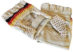 Vintage Style Crochet & Fine Leather Track Mitts, Retro L'Eroica Cycling Gloves