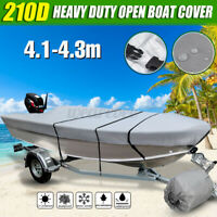 Waterproof Open Boat Cover Marine Grade Trailerable V-hull Fishing Dinghy 210D