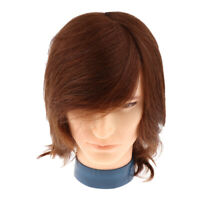10'' Human Hair Male Cosmetology Mannequin Braiding Practice Doll Head Brown