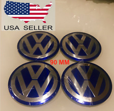 "*SHIPS FROM USA* VW 90mm(3.5"") BLUE CENTER CAPS Decals/Emblem STICKER VOLKSWAGEN"