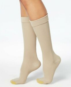 F240 Gold Toe Beige or Black Wellness Women's Compression Moderate Ribbed Socks