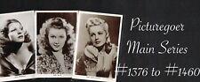 PICTUREGOER - Main Series 1940s ☆ FILM STAR ☆ Postcards #1376 to #1460