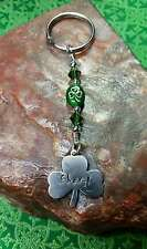 Hand-Stamped Beaded Personalized Lucky Irish SHAMROCK Clover Nickel Slv Key Ring