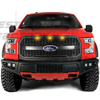 Raptor Matte Black Mesh Grille w/Emblem Housing+Amber LED for 15-17 Ford F150