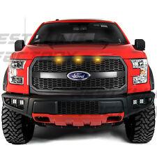 15-17 Ford F150 Raptor Style Matte Black Mesh Grille w/Emblem Housing+Amber LED
