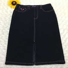 Angels Womens Jean Pencil Skirt Size 9 Stretch Front Slit Blue Denim er3440