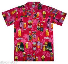 Funky Hawaiihemd, Bier Flaschen, pink, XS-12XL