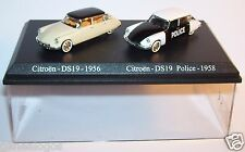 COFFRET ATLAS DUO 2 METAL UH CITROEN DS 19 BERLINE 1956 POLICE 1958 HO 1/87