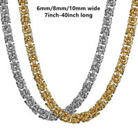 6/8/10mm Men stainless steel Gold Silver Tone Byzantine Antiqued necklace chain