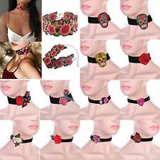 Classic Black Velvet Choker Embroidery Printed Collar Short Necklace Jewelry New
