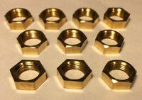 """New Lot of 10, Heavy Brass Hexnut Locknut, 1/8F, Lamp Repair, 3/16"""" Thick #HN726"""