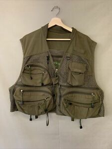 Orvis XL Fisherman's Vest Olive Green Zip Up Outdoors Recreational Fly Fishing