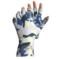 Glacier Gloves Abaco Fingerless UPF 50 Sun Gloves in Blue Camo Large/X Large