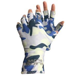 Glacier Gloves Abaco Fingerless UPF 50 Sun Gloves in Blue Camo Small/Medium
