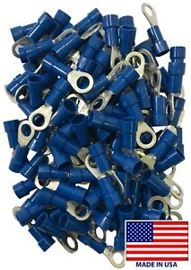 (500) Vinyl Insulated 16-14 AWG Gauge #10 Stud Ring Terminal Blue Wire Connector