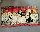Vtg Swan Velveteen Tapestry Giant Panda Chinese Wall Hanging 39x20 Red Nature