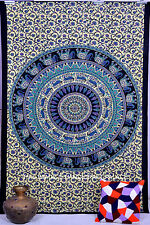 Double Indie Éléphant Mandala Tapisserie Tenture Murale Hippie Couvre-lit