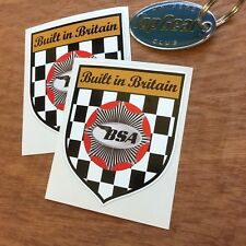 BSA BUILT IN BRITAIN Shield Classic Retro Motorcycle Stickers Decals 80mm  2 off