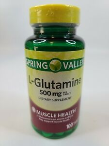 Spring Valley L-Glutamine Muscle Health 500 mg 100ct Tablets Dietary Supplement