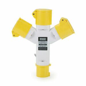Defender 3-Way Splitter Adaptor 16amp Plug / Sockets 110v