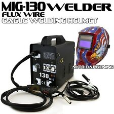 MIG-130 Flux Core Auto Wire Welder Machine w/Cooling + Welding Helmet Eagle ANSI