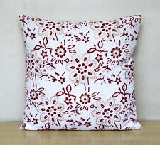 Indian Red Gold Floral 16x16 Printed Hand Block Cushion Cover Pillow Case Covers
