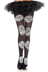 Sugar Skull Skulls  Alternative Emo Punk Tights Festival Party Fancy Dress