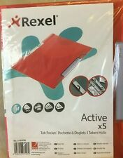 Rexel Active Tab Pocket 245 x 315 x 10mm Set of 5 Red College School Folders A4