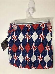 Royal & Awesome Tree Brit English Print Golf Skirt Skort Short Lined Size 4