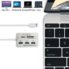 3Port Aluminum USB 3.1 Hub Mit MS SD M2 TF Multi-In-1 Card Reader Kartenleser DE