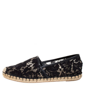 Valentino black lace espadrilles -leather trim fits 6