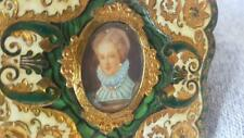 Vintage Gold Plated Italian Luxury Compact w/ Miniature Painting Green Enamel