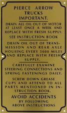 Pierce Arrow Truck & Bus Caution Plate 1920's Etched Brass