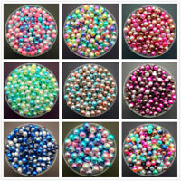NEW 4mm 6mm 8mm Color Acrylic No Hole Round Pearl Loose Beads Jewelry Making UK