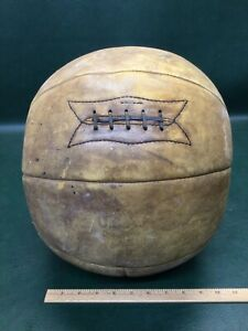 Antique 1930's Brown Leather Medicine Ball Laces Boxing Training 8 Lbs 6 Oz