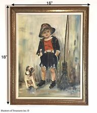 Vintage Oil on Wood Board Mid-century Painting Chimney Sweep by Marietta Dunmore