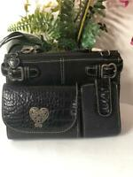 BRIGHTON Black Croc Embossed Leather Organizer Crossbody Shoulder Wallet Bag