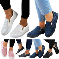 US Womens Mesh Slip On Casual Shoes Plimsolls Flats Pumps Sneakers Loafers Sizes