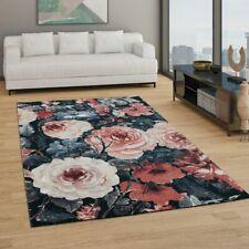 Teppich Wohnzimmer Kurzflor Boho Design Modernes Florales Muster Grau Rosa Rot