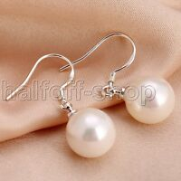 Natural 10mm White Mother of Pearl Shell 925 sterling Silver Drop/Dangle Earring