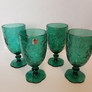 4 Princess House Fantasia Crystal Emerald Iced Tea Glasses