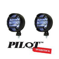 "PILOT 7"" Black Guard Round Off Road White Fog Lights 9.5"" x 4.5""  - US SELLER"